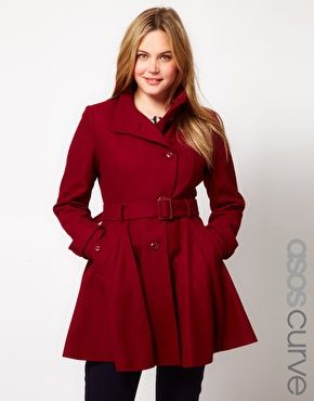 Plus Size ASOS CURVE Fit And Flare Coat  $102.18Winter Style, Fall Coats, Asos Curves, Flare Coats, Winter Chic, Red Coats, Plus Size Clothing, Winter Coats, Curves Fit