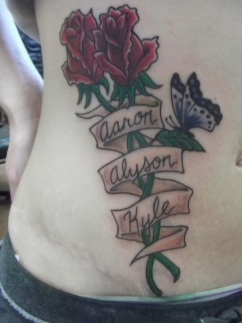 Butterfly Designed With Kids Names Tattoo My Roses With Kids Names Tattoo Picture At