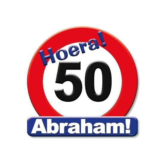 Huldeschild stopbord Abraham 50 jaar! Feestelijke huldeschild met afbeelding van een groot stopbord met daarin het getal 50. Op het huldeschild staat met grote letters Hoera! 50 Abraham! Het huldebord is ongeveer 50 x 50 cm groot.