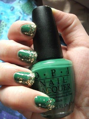 Pot of Gold St-Patrick's Day nails.  OPI Don't Mess With OPI and Sephora by OPI's Only Gold For Me.