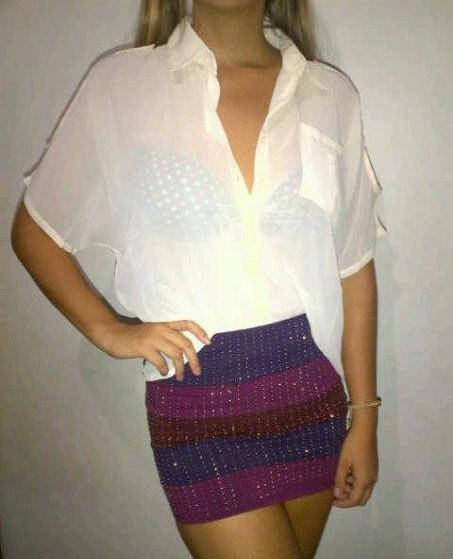 Falda tubo multicolor - Blusa Blanca