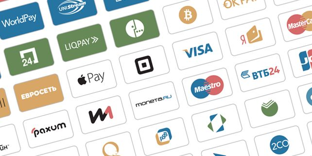 A set of 40 vector icons of some popular payment systems. All the icons have the same...