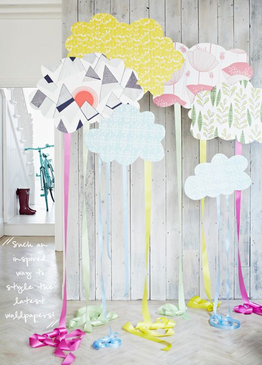 Wallpaper clouds  ribbon DIY idea (Photography by Jon Day)