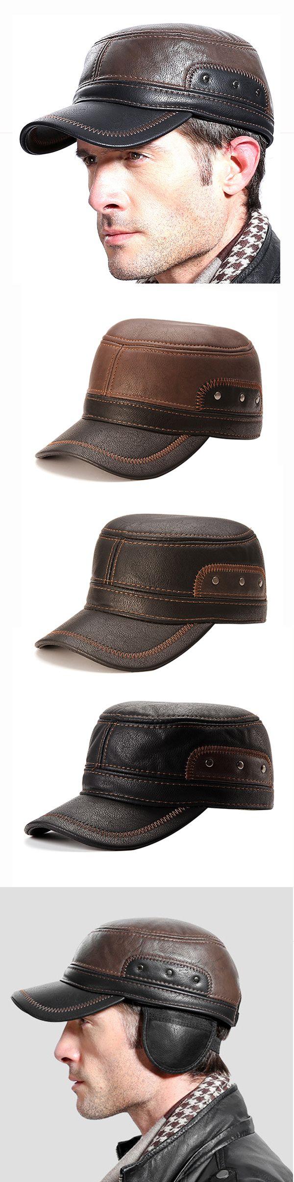 US$17.02 (48% OFF) Men Warm Earflaps Leather Cap / Flat Trucker Outdoor Sports Baseball Cap