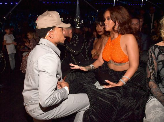 Rihanna and Chance The Rapper in the Audience at the 59th Annual Grammy Awards in Los Angeles on February 12, 2017