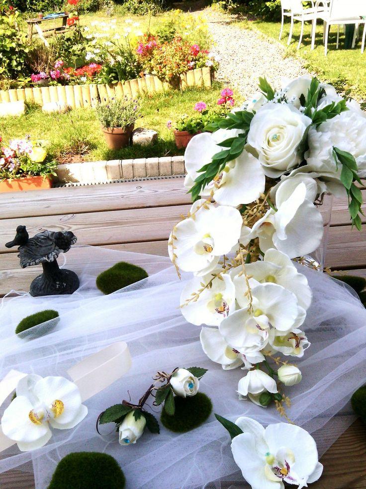 """BOUQUET MARIEE """"Angélique"""" forme cascade """"ORCHIDEES et ROSES fleur artificielle mariage"""