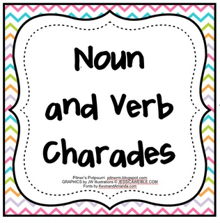 Free! Noun and verb charades from pitnerspotourri!