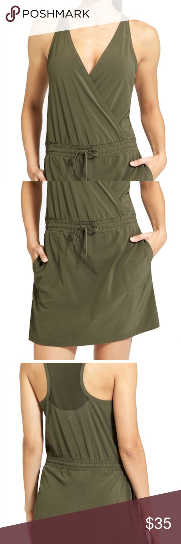 Athleta Forest Green Take A Hike Dress, 6 Awesome and comfortable forest green Athleta dress.  UPF 50+ featherweight stretch, front side pockets, adjustable elastic waist, built in shorts. Size 6. Excellent condition! Athleta Dresses