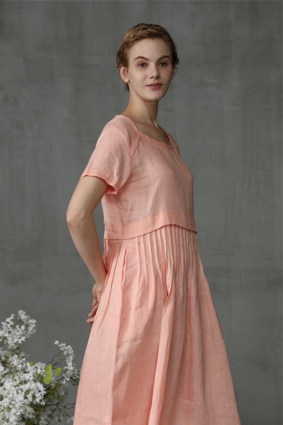 a323b8536fe linen tunic dress in peach pink pin tuck dress knee length