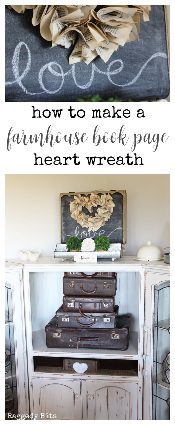 Using some cardboard and old book pages see how to make a fun Farmhouse Book Page Heart Wreath in one afternoon. Full tutorial   www.raggedy-bits.com #farmhouse #bookpage #wreath #craft #DIY #valentines