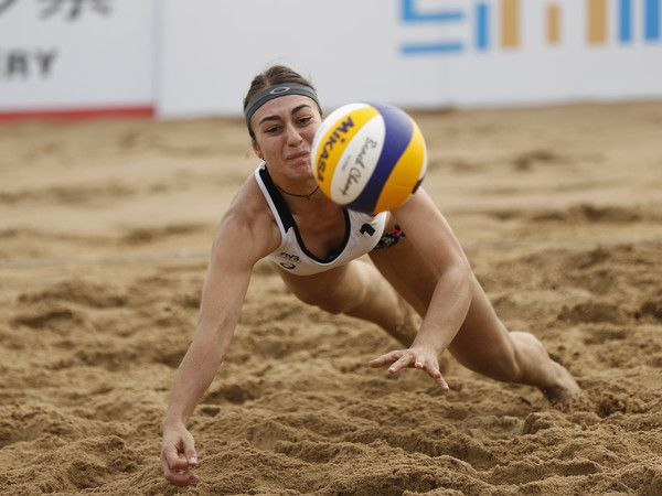 Esra Betul Cetin of Turkey in action at the FIVB  Beach Volleyball World Tour Xiamen Open 2017 on April 20, 2017 in Xiamen, China.
