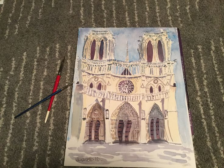 Begun in the 12th century, Notre Dame is a stunningly beautiful cathedral less than five minutes from where I'm staying. Here's my version... #quirky #watercolours