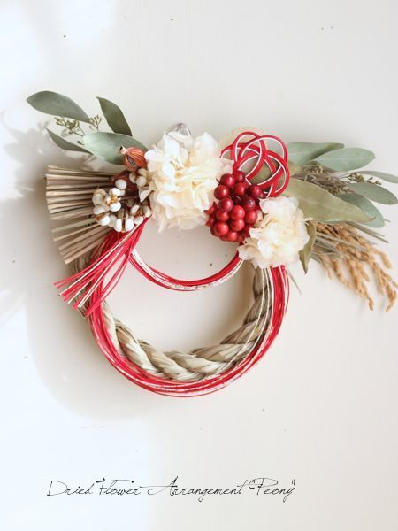 2015 お正月飾り 梅 - ドライフラワーリース&アレンジ   Dried Flower Arrangement ''Peony'' ピオニー