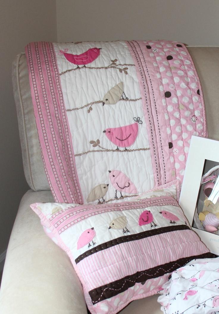 Pottery Barn Kids Penelope Birds Chocolate Brown Pink