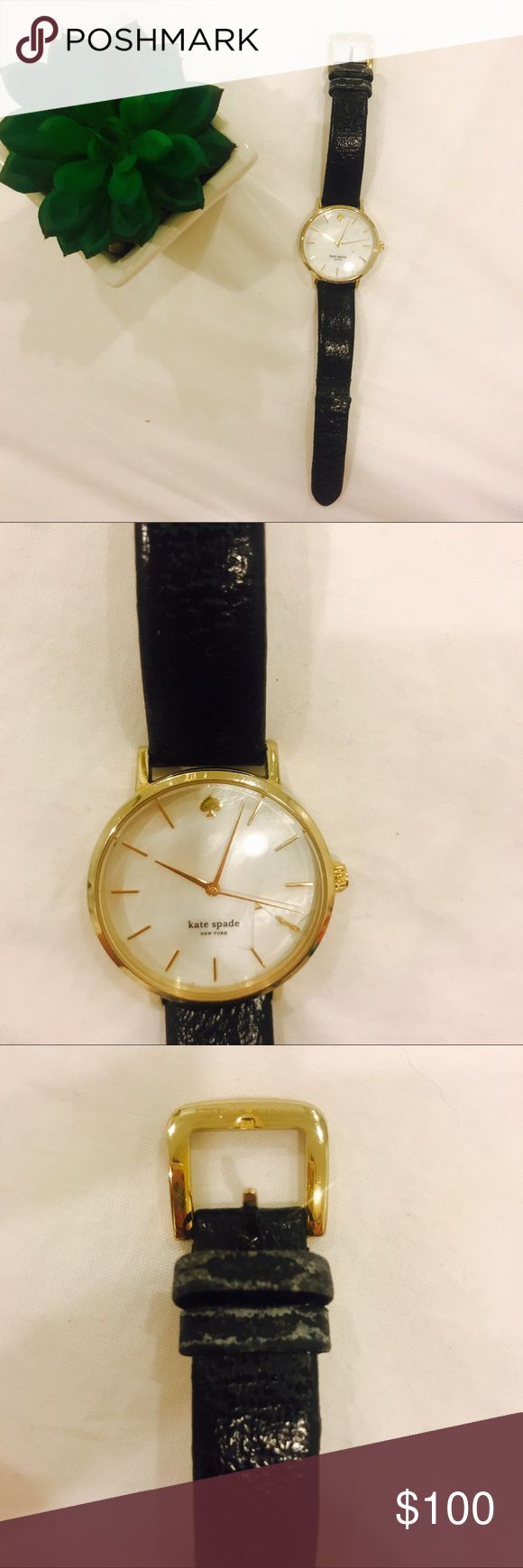 Kate Spade Women's Metro black leather strap watch Kate Spade Women's Metro black leather strap watch 34mm. Mother of pearl face is cracked as the pictures show. But the watch works perfectly! Leather strap is stretched a little. Scratches on the back of the face of the watch (see pictures). Leather is worn out and looks used (look at pictures). Great watch, works perfectly. And is a timeless piece even if it's worn out. kate spade Accessories Watches