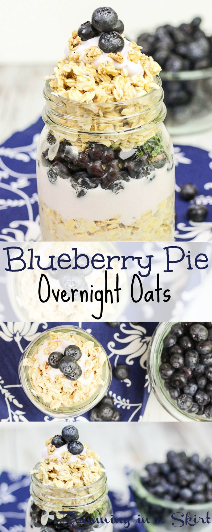 Blueberry Pie Overnight Oats recipe. A healthy breakfast to start your mornings. A fresh take on a the healthy blueberry pie flavors. Lot's of great oatmeal recipes on Running in a Skirt! / Running in a Skirt