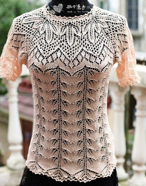 Красивый пуловер с ажурной кокеткой. Нежный пуловер спицами с ажурным узором |
