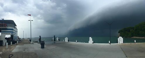 A front moving through Put-in-Bay, Ohio over Lake Erie. Miller Ferry Dock.