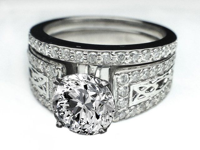 Celtic Knot Diamond Engagement Ring Pave Diamonds Band Matching Wedding In Es639bsbr