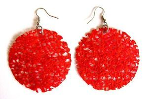 Red Earrings Handmade Recycled Plastic Bag UpCycled Fashion Best Christmas Gift