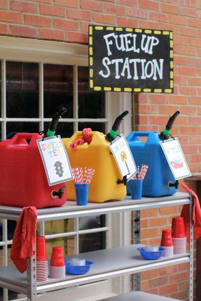 Fuel up drink station at a transportation birthday party! See more party ideas at CatchMyParty.com!