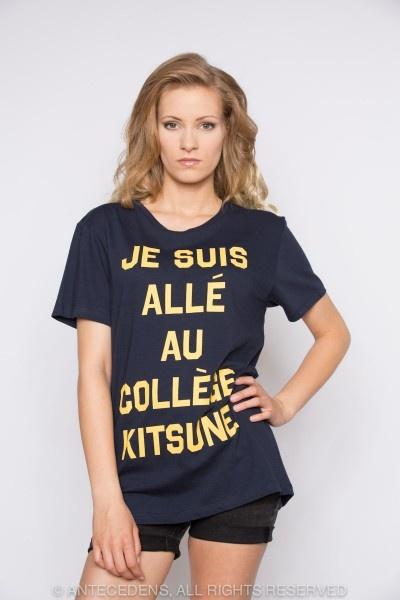 MASION KITSUNÉ Je suis alle au College Kitsune Print - Navy/Gelb, T-Shirt, Unisex @ antecedens.de