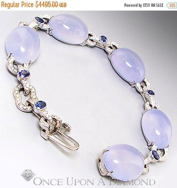 ON SALE 68.85ctw Blue Chalcedony Sapphire & by OnceUponADiamond