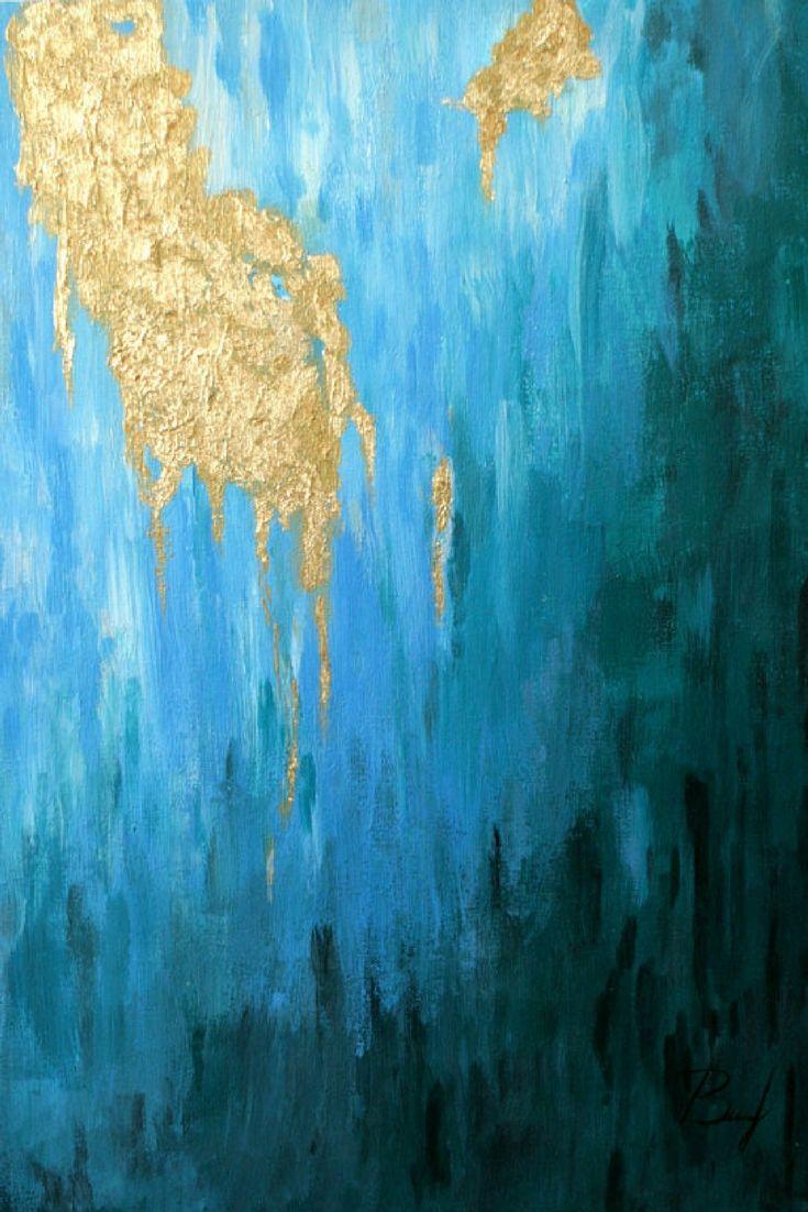 abstract painting acrylic painting original art modern art gold blue emerald original painting