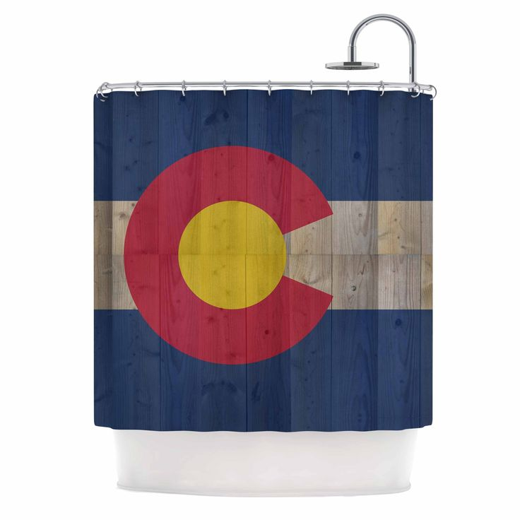 "Kess InHouse Bruce Stanfield ""Flag of Colorado"" Blue Red Shower Curtain"