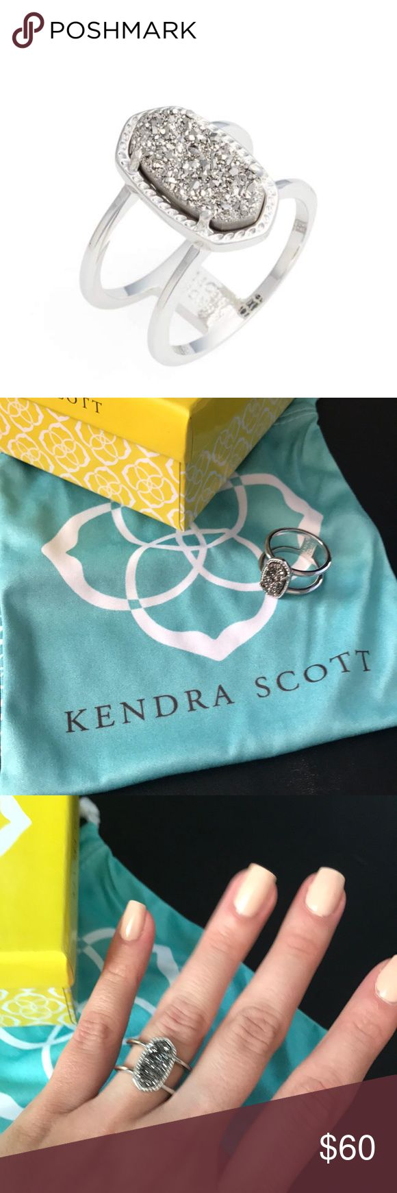 Kendra Scott platinum drusy ring Beautiful statement ring. Worn once, great condition. Comes with box and cloth bag Kendra Scott Jewelry Rings