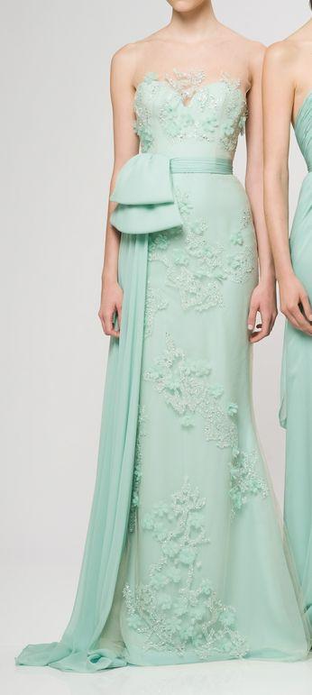 Sexy Mint Green Evening Gown - Reem Acra Resort 2013