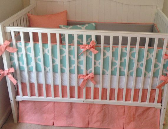 Peach Teal and Gray Linen Crib Bedding Set by butterbeansboutique, $425.00