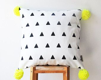 "NEW! Decorative Geometric Pillow, Modern Nursery Pillow, Kids Pillows, Teen Pillow, Neon Yellow Pompoms, Throw Pillow 16"" x 16"""