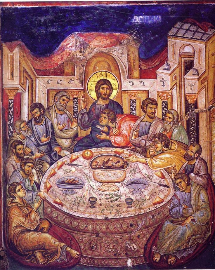 From Mt Athos Last supper 13th century fresco Greece