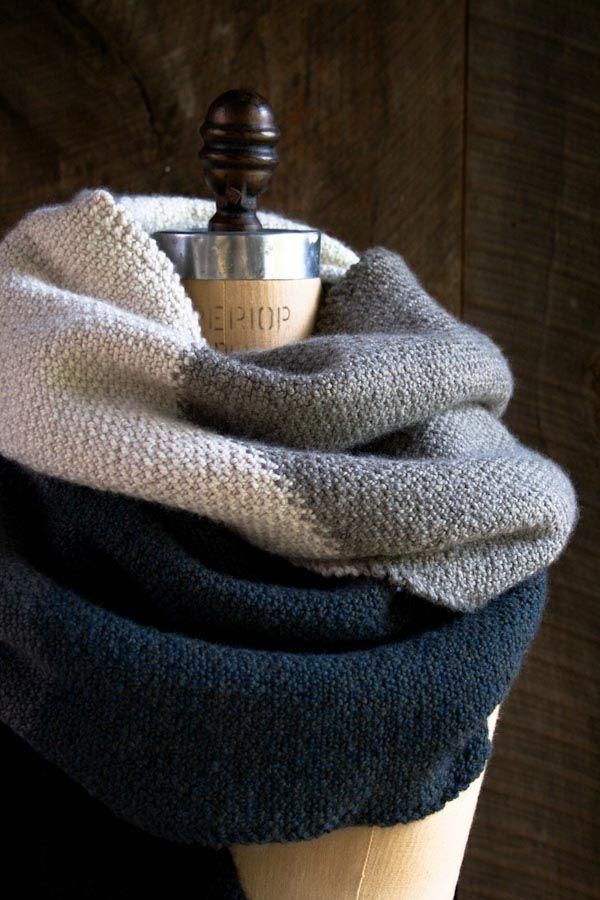 Knitting Pattern: Linen Stitch Colorblock Wrap