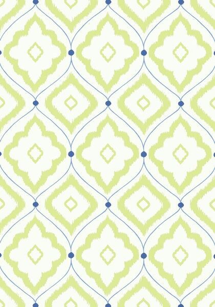 Let's start with a bright back door entry to the kitchen ... with this Thibaut design in Navy and Apple Green!  Wallpaper is back!