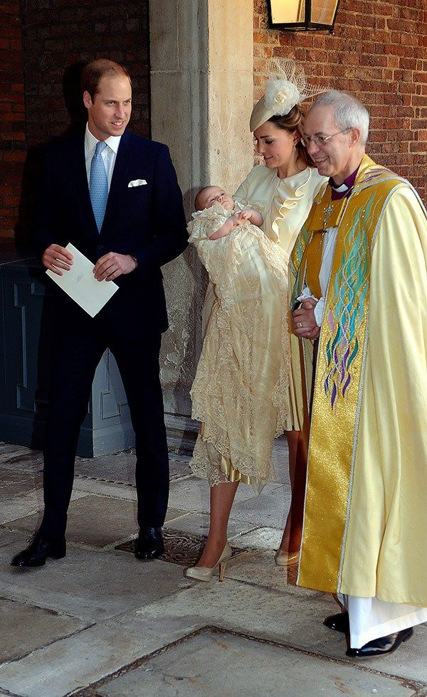 Prince William, Kate and Prince George leaving the christening service. - Kate's in an Alexander McQueen Ivory Wave Ruffle Jacket and Jane Taylor hat for Prince George's christening. - 10/23/2013