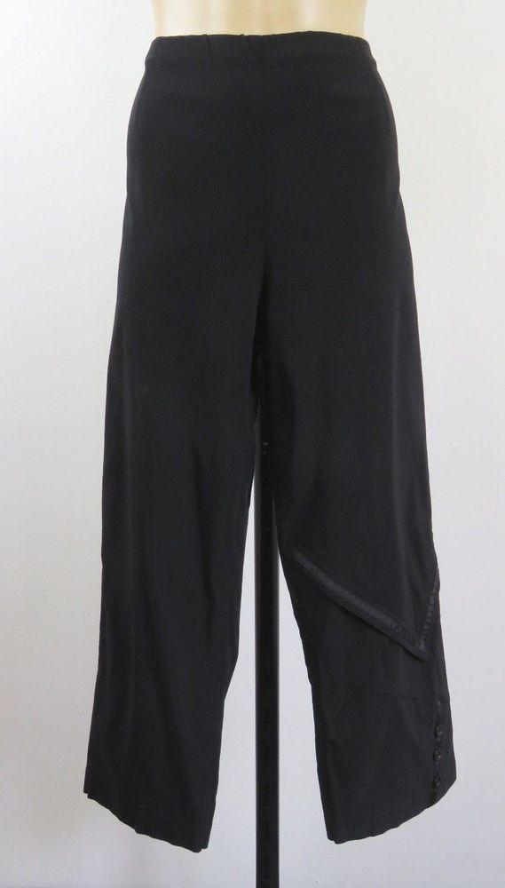 Size L 14 Threadz Ladies Black 7/8 Dress Pants Trousers Work Chic Casual Design #Threadz #DressPants #WeartoWork