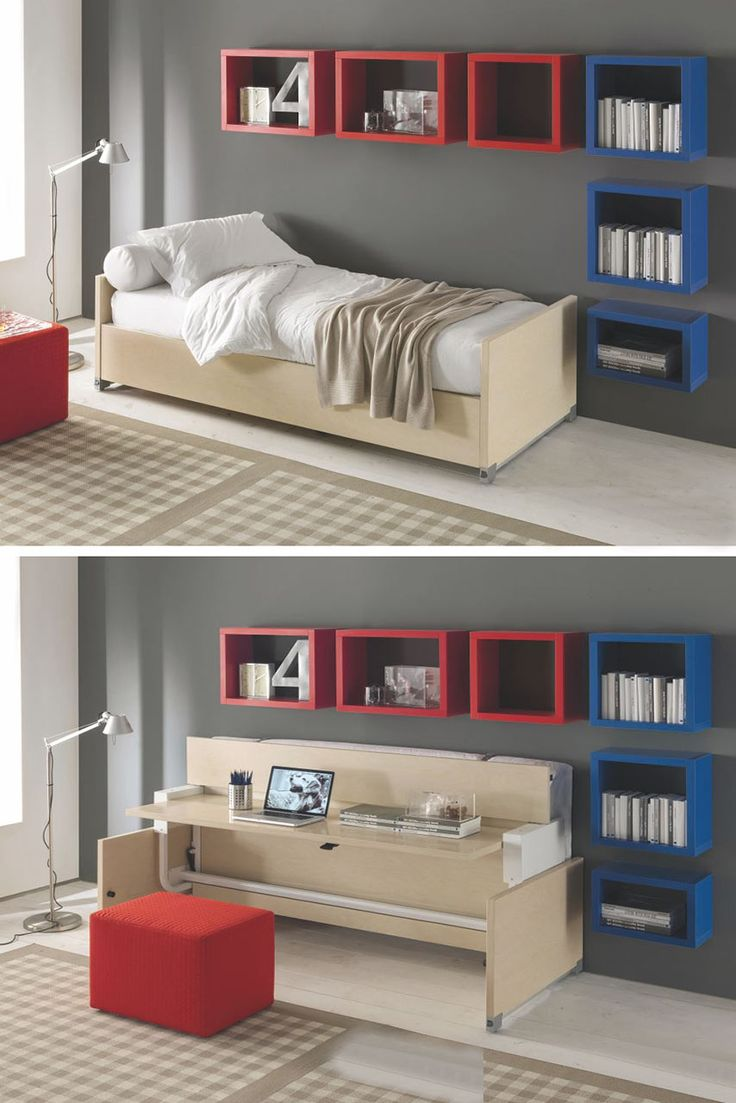 Erba, collection All In One    If space is at a premium, you need to invest in a bed which folds-away and turns into a writing desk. This piece is also a great idea for a guest room.
