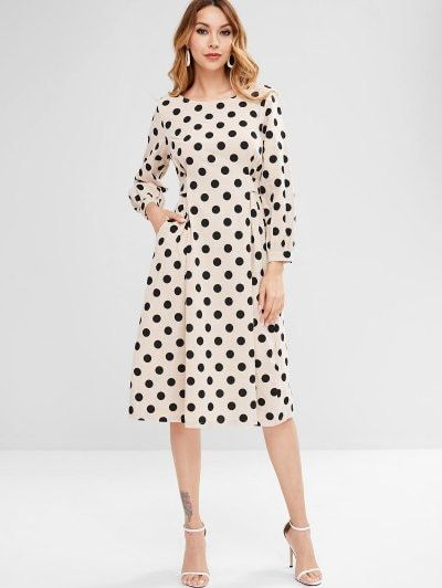 58ad862f68af Dotted Tied Midi Dress - Beige #zaful#dresses #fashion #cocktail_dresses  #partydresses, dresses,cocktail dresses, party dresses,womens  clothes,zaful,ladies ...