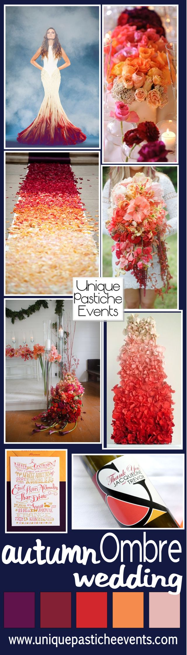Burgundy Ombre Fall Wedding Ideas