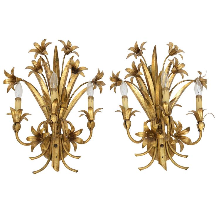 Pair Gilded Metal, Floral Wall Sconces | From a unique collection of antique and modern wall lights and sconces at http://www.1stdibs.com/furniture/lighting/sconces-wall-lights/