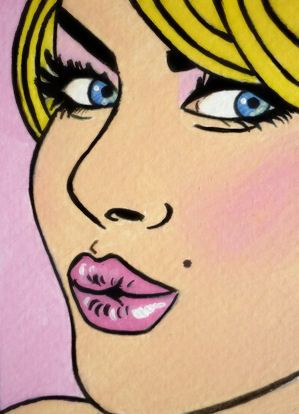 Pop Art blonde with pink lips puckering up