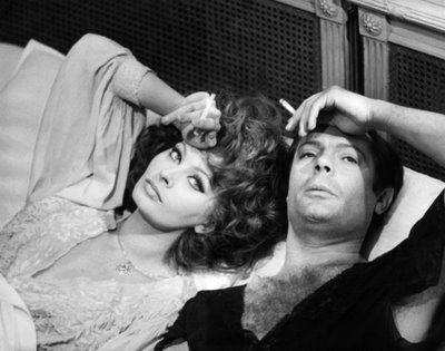 Italian actress Sophia Loren & her counterpart Marcello Mastroianni in Vittorio de Sica's film 'Marriage Italian-Style'; 1964.
