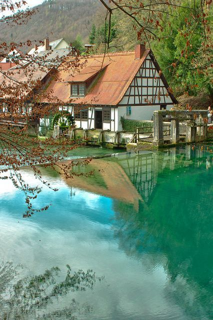 Blautopf natural spring in Blaubeuren, Germany