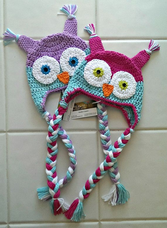 crochet owl character hat with ear flaps beanie by TheFreckledPurl, $25.00