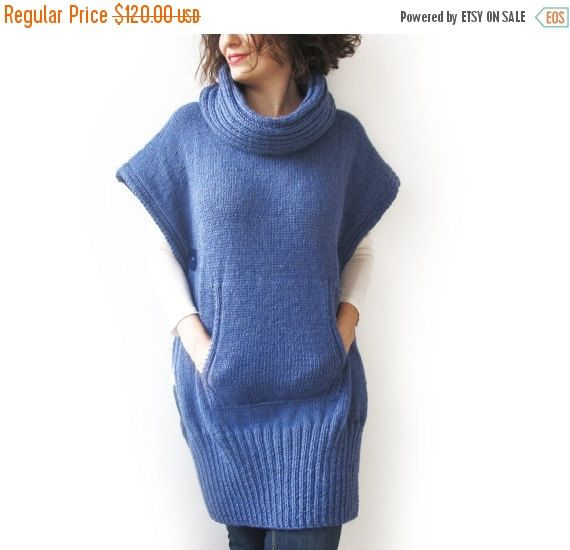 20% WINTER SALE Blue Hand Knitted Poncho with Accordion от afra