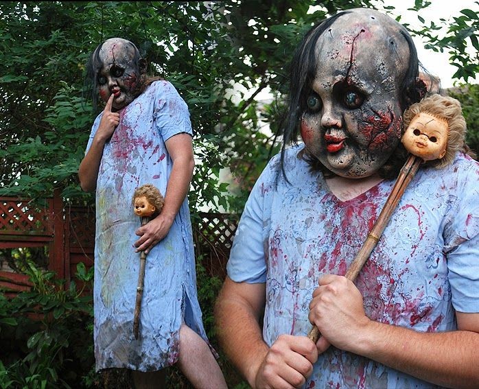 scary doll costume nightgown from a thrift store and creepy doll mask