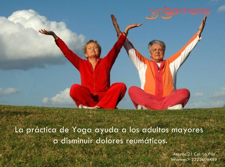 Sabías que el yoga es una excelente práctica para los adultos mayores, ayudándolos a disminuir dolores musculares. Aquí más información al respecto: http://www.doctornews.org/alivia-el-dolor-de-la-artritis-reumatoide-con-terapia-de-yoga/