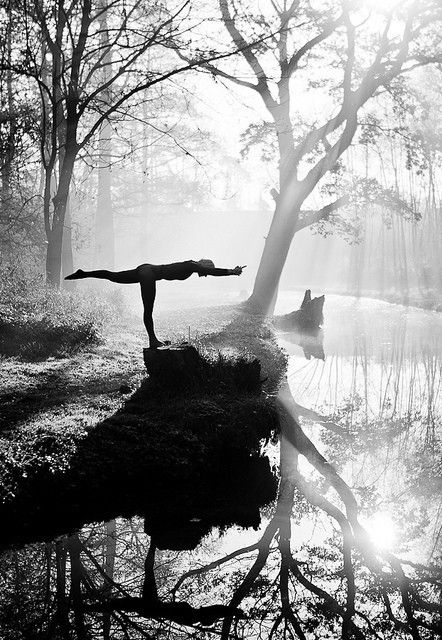 Woodland black and white yoga pose with trees - Click image to find more Health & Fitness Pinterest pins